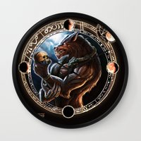 werewolf Wall Clocks featuring WEREWOLF by TheMagicWarrior