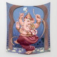 ganesh Wall Tapestries featuring Ganesh Among Lilies by PIXELFLY