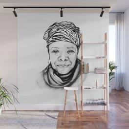 Maya Angelou - BW Original Sketch Wall Mural