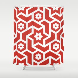 Tiled, Red and White Shower Curtain