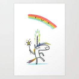 RAINBOW UNICORN MAGIC PARTY Art Print