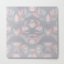 Palm leaves lace pattern on grey Metal Print