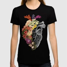 Flower Heart Spring Black Womens Fitted Tee MEDIUM