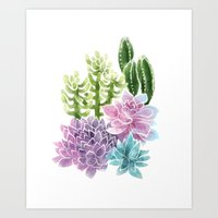 succulents Art Prints featuring Succulents by Megan Alcock