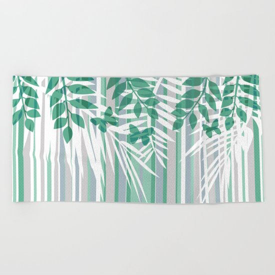 Multi-colored striped pattern with green tones . Beach Towel