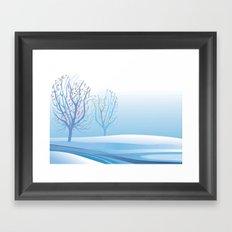 Winter Scene with Barren Trees and Stream Framed Art Print