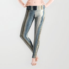 Distressed Blue and White Watercolor Stripe Leggings