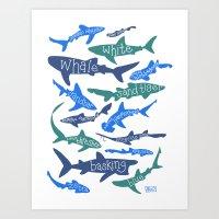 sharks Art Prints featuring SHARKS! by Jen Richards
