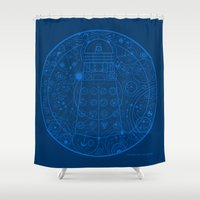 dalek Shower Curtains featuring Sign of the Dalek by Mary Rath