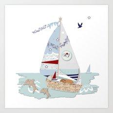 Sailboats and puppies Art Print