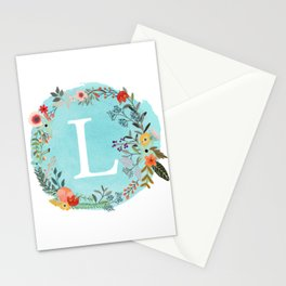 Personalized Monogram Initial Letter L Blue Watercolor Flower Wreath Artwork Stationery Cards