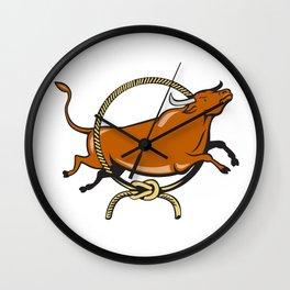 Texas Longhorn  Jumping Lasso Cartoon Wall Clock