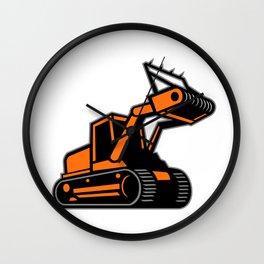 Tracked Mulching Tractor Icon Retro Wall Clock