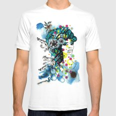 floral girl 2 MEDIUM White Mens Fitted Tee