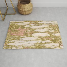 Glitter Gold and Rose Gold Marble With Diamonds Rug