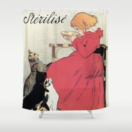 Vintage Art nouveau French milk advertising, cats, girl Shower Curtain
