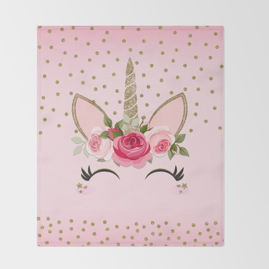 Pink & Gold Cute Floral Unicorn by christyne