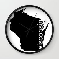 wisconsin Wall Clocks featuring Wisconsin by Isabel Moreno-Garcia