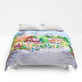 Vail Village Colorado Watercolor Comforters