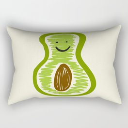 Smiling Avocado Food Rectangular Pillow