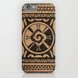 Hunab Ku Mayan symbol Wooden Texture iPhone Case
