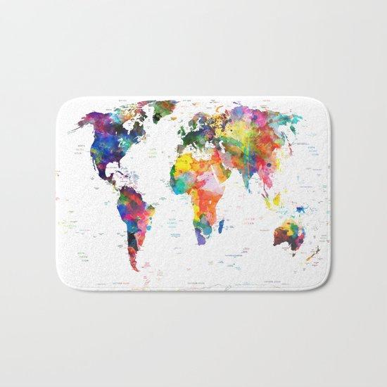 world map political watercolor 2 Bath Mat