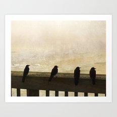 Four Blackbirds Art Print