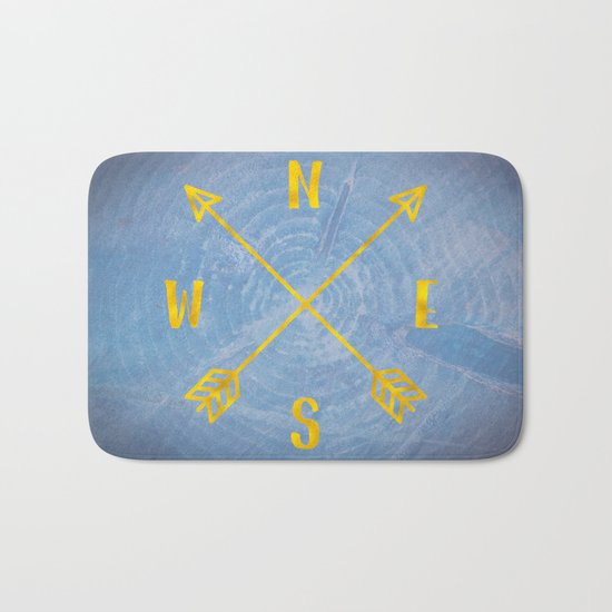 Compass Tree Gold on Blue Bath Mat