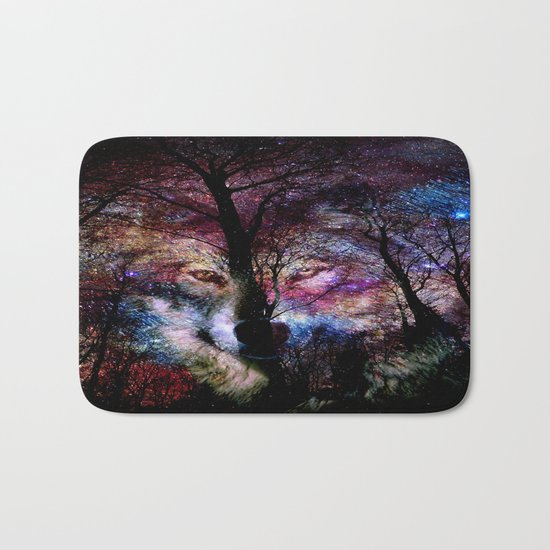 wolf in the forest Bath Mat