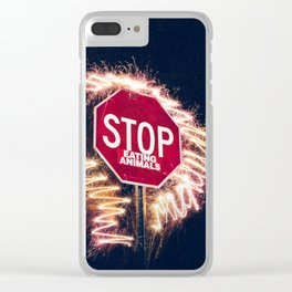 Stop Eating Animals Clear iPhone Case