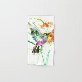 Hummignbird and Flowers Hand & Bath Towel