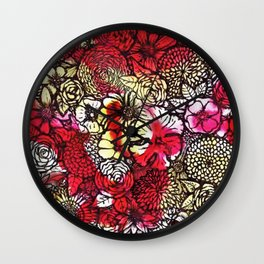 Yellow'n Red Flowers Wall Clock