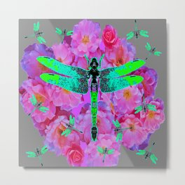 EMERALD DRAGONFLIES PINK ROSES GREY COLOR Metal Print