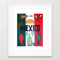 mexico Framed Art Prints featuring Mexico by Jake Hollywood