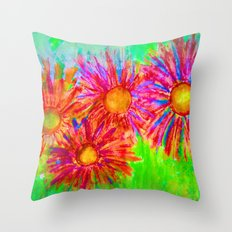 Bright Sketch Flowers Throw Pillow
