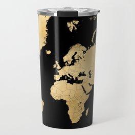Sleek black and gold world map Travel Mug