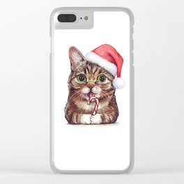 Cat in Santa Hat with Candy Cane Funny Christmas Animal Clear iPhone Case