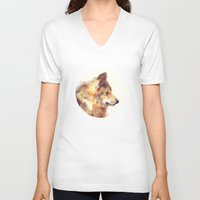 wolf V-neck T-shirts featuring Wolf // True by Amy Hamilton