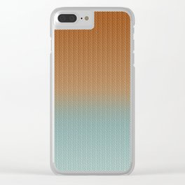 Light Rust and Turquoise Graphic Herringbone Weave Pattern Clear iPhone Case