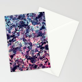 Teal, Pink, and Black Granite Marble Pattern Stationery Cards