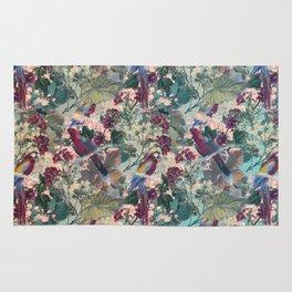 Tiled Parrots and Flora Pattern Rug