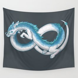 Eternal Eastern Blue and White Dragon  Wall Tapestry