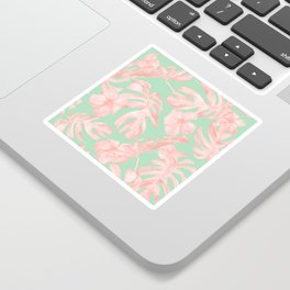 Tropical Palm Leaves Hibiscus Pink Mint Green Sticker