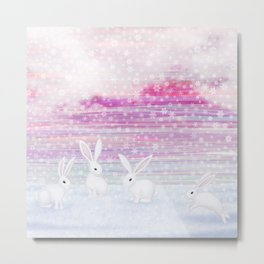 bunnies frolic in the snow Metal Print