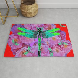 EMERALD DRAGONFLIES  PINK ROSES RED COLOR Rug