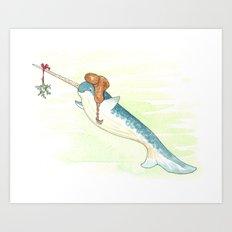 Mistletoe Narwhal Art Print