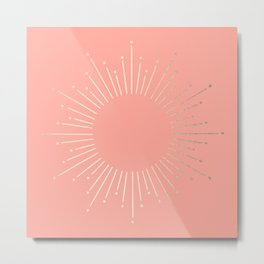 Simply Sunburst in White Gold Sands on Salmon Pink Metal Print
