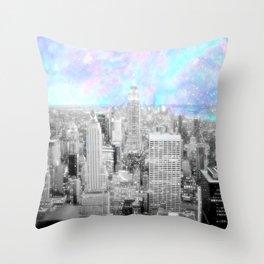 New York City. Pink Lavender Periwinkle Aqua Skies Throw Pillow