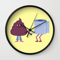 toilet Wall Clocks featuring SBF: Poop & Toilet Paper by Mauro Gatti