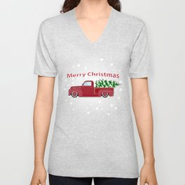 Vintage red pickup car with Christmas tree. Unisex V-Neck